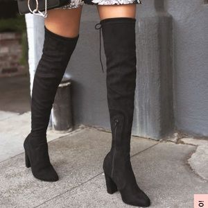 Lulus Black Suede Over the Knee Boots